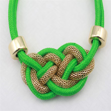 free shipping Jewelry accessories neon color cotton knitted necklace
