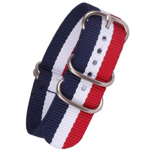 Buy 2 get 20% off) 18mm 20 mm Stripe Red Cambo White Navy Army Zulu fabric Nylon watchband Watch Strap 5 Rings Bands Buckle belt