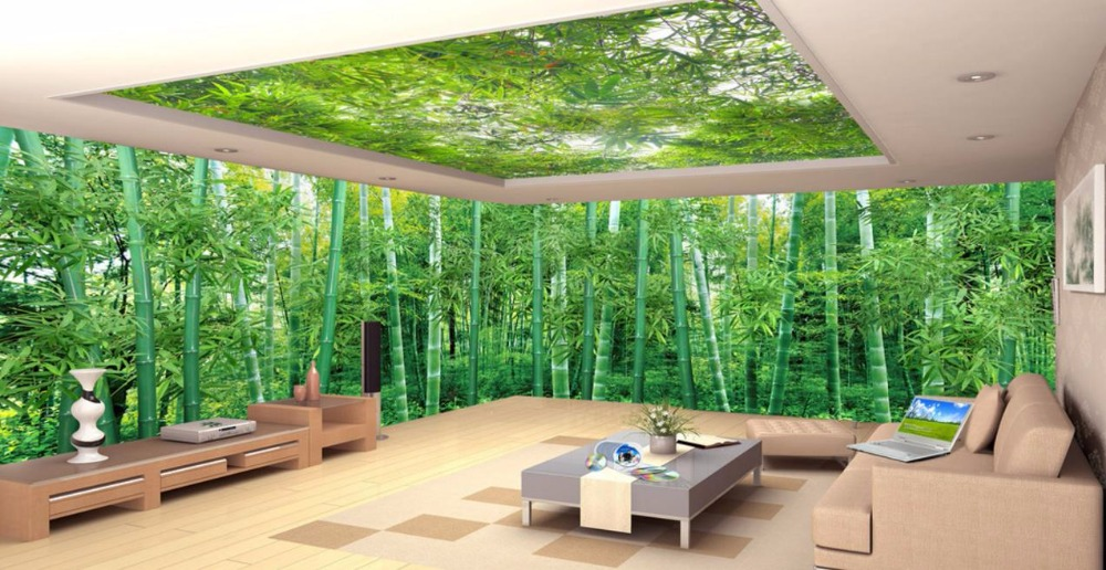 Huge 3D Ceiling Photo Wallpaper Panoramic Natural Scenery bamboo forest Custom Photo Wallpaper 3D Bedroom Ceiling<br>