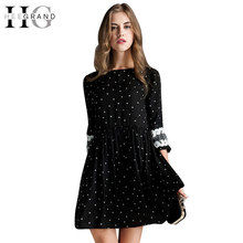 HEE GRAND 2017 Plus Size A-Line Cute Mini Ladies' Dress O-Neck White Dot Black Lace Half Sleeve Summer Dresses Women WQS1816(China)