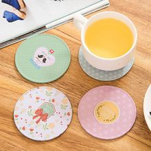 Waterproof Non-slip Home Table Cup Mat Tinplate Wood Bottom Round Insulation Coasters Pad