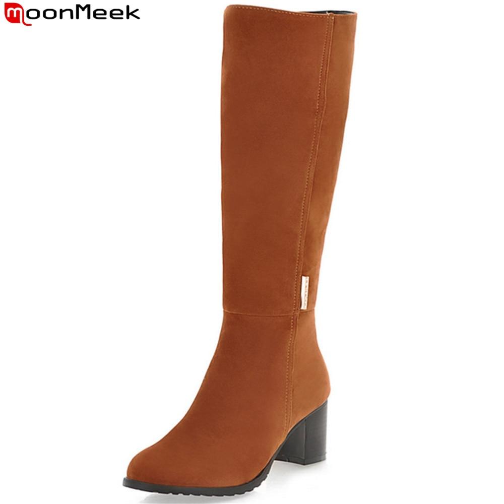 MoonMeek 2018 hot sale winter new arrive women boots tound toe zipper flock ladies boots square heel black brown knee high boots<br>