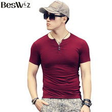 Buy Beswlz Men T Shirts Short Sleeve V-Neck Summer Cotton Slim Men Basic Simple T-shirts Fashion Casual Male Tops Tees 6907 for $8.45 in AliExpress store