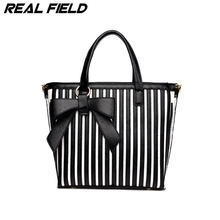 Real Field RF Brand Women bags Blocking Striped Fashion Casual Tote Top-handle Shoulder Messenger Bags Bao Bow Pearl Handbag 221