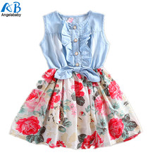 2017 NEW LOWEST PRICE Lovely Hot Kids Girls Jean Denim Bow Flower Ruffled Dress Sundress Clothing Costume