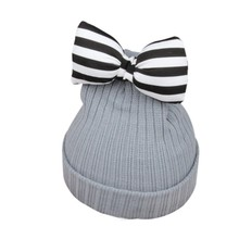 Baby Caps Girl Winter Cotton Bowknot Knitted Crochet Newborn Photography Props Cap(China)