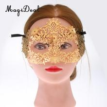 MagiDeal Novelty Golden Lady Hollow Flower Eye Mask Masquerade Costume&Ribbon Craft for Wedding Dance Party Masquerade Ball Day(China)