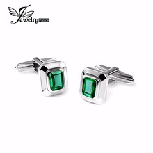 JewelryPalace Men 4ct Created Emerald Cufflinks Genuine 925 Sterling Sliver Cufflinks for Men Fine Jewelry Brand