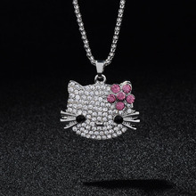 New Arrival Fashion Long Pendants Necklaces Fill Full Rhinestone Cute Hello Kitty Bowknot KT Cat Jewelry For Girls Necklace(China)
