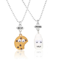 2pcs/set Best Friends BFF Pendant Bead Chain Necklace Milk & Cookie Biscuit Kids Jewelry Lead Nickel Free