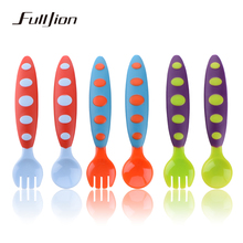 children tableware dishes feeder Silicone baby fork Ice cream spoon for Bottle Feeding Infant Utensils pvc safe colorful Handle(China)