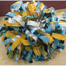 "1Piece Cheerleader Pom poms 6"" Baton Handle Metallic Light Blue Mix HoLographic Competion  180g Poms Custom Color  Never Fade"
