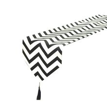 Geometric Wave Black and White Striped Table Runners Print Canvas Cotton Ribbon Rustic Home Decoration Table Runners tassel