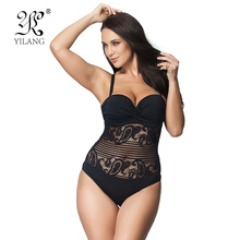 Hot Sale Sexy High Cut Swimsuit One Piece Swimwear Women Plus Size One Piece Black Lace Beach Bathing Suit Brazilian Monokini