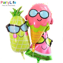 Watermelon/Ice cream/Pineapple Beach Hawaii Theme Party Aluminum Foil Balloons Luau Party Ballonnen Decoration Supplies(China)