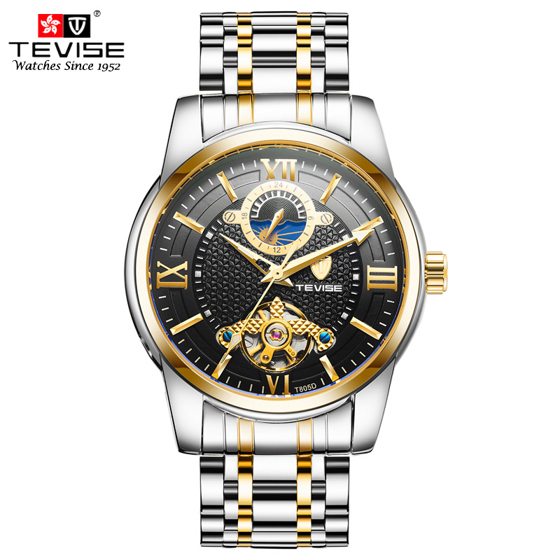 Tevise Luxury Business Watch For Men Tourbillon Design Stainless Steel Automatic Mechanical Watch Moon Phase 24 Hour Clock T805D<br>