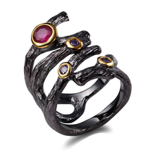 DreamCarnival 1989 Designer Women Hip Hop Ring Pierced Look Fuchsia Purple Synthetic CZ Bezel Set Vintage Black Gold-Color Moda