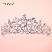 Fashion silver crystal Bridal Crown luxury alloy Rhinestones hair jewelry accessories wedding for women tiara Crown E160305-06