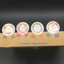 600pcs/lot Round Colouful Flower Medal Hand Made and Thank You Garland Seal Sticker Baking Package