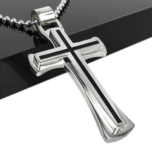2015 hot sell Men Women Black Silver Stainless Steel Cross Pendant Cool Chain Necklace 569N(China)