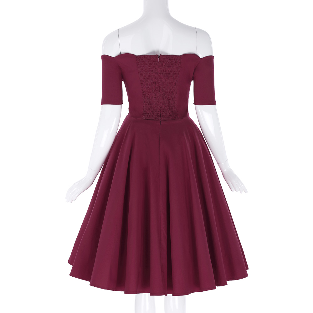 Belle Poque 17 Women Dress Robe Vintage Off Shoulder Black Summer Dress Jurken 1950s 60s Retro Rockabilly Swing Party Dresses 31