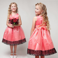 2016 Summer Kids Lace Princess Dresses Girls Sleeveless Party Dress Girl Wedding Children Sundress Flower CA119 - factory children clothes celia store