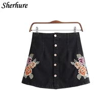 Buy 2018 New Spring Women Skirts Flower Embroidery High Waist A-Line Women Sexy Denim Skirts Slim Summer Mini Skirt Saia Faldas for $16.98 in AliExpress store