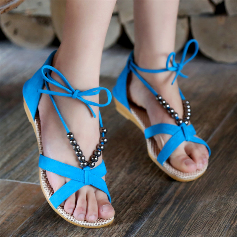 2017 Newest Summer Women Flat Sandals Hot Design Bohemia Beaded Rubber Soft Sole Flip Flops with Straps Ladies Shoes<br><br>Aliexpress