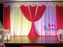 3X6M Red Wedding Drapes Backdrop Curtain With White Swag Pleated/ ice silk fabric curtain For  Event&Party&Banquet Decoration