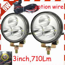 "Free ship! 3"" 9W 710LM 10~30V,6500K,LED working light;Option wire of harness;motorcycle light,forklift,tractor light"