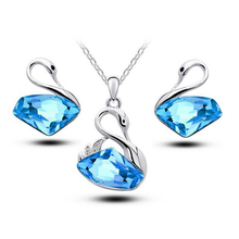 Luxury Austrian Crystal Swan Jewelry Sets Women Animal Pendant Necklace Set Wedding Accessories