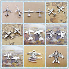 Silver aircraft charms plane jet Fighter, airplane aeroplane pendants Helicopter(China)