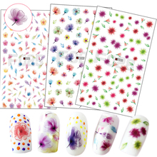 1 Sheets 2017 Mixed Colorful Transparent Designs Nail Sticker 3D Beautiful Flower Decals Nail Art Decor Adhesive Tips CHF019-028