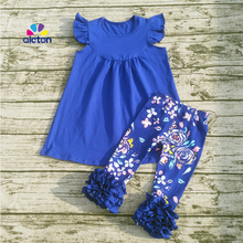 2017 Trendy kids clothing baby spring summer remake clothes baby girls top design ruffle pants girls boutique suits