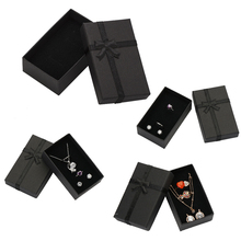 32pcs/lot Jewelry Box 8x5CM Necklace Ring Box for Jewelry Black Paper Gift Boxes Jewellery Packaging Earring Display with Sponge(China)