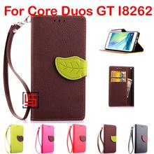 Cheap Leaf Clasp PU Leather Flip Filp Wallet Phone Cell Case capa Cover For Samsung Galaxy Core Duos GT I8262 GT-I8262 Brown