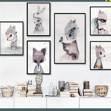 HAOCHU Rabbit Girl Painting Animal Nordic Decor Wall Ornament Art Picture Posters Canvas Living Room Corridor Nursery Supplies(China)