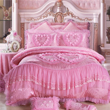4/6/8pcs Princess lace luxury bedding set queen King size pink Jacquard wedding bed cover bedsheets duvet cover set bedspreads
