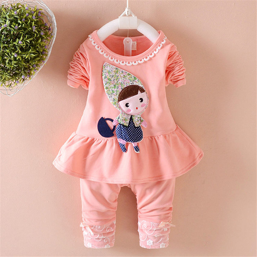 2017 girls spring Quality pink cotton childrens cartoon long-sleeved dress fashion girls spring model for 0-4 years old<br><br>Aliexpress