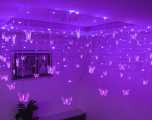 1.5mx0.5m Wedding Butterfly LED Curtain STRING Light Holiday Fairy Lights Party Venue Clubs Store Decoration Christmas Supplies