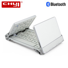 CHUYI Portable Pocket Folding Keyboard Aluminum Bluetooth Foldable Universal Wireless Travel Keypad for iphone ipad PC Tablet(China)
