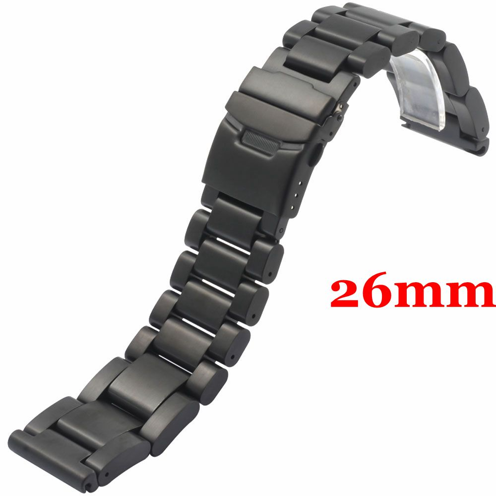 Fashion Men Women Watch Band 26mm Black Stainless Steel Strap for Hours with Folding Claps with Safty Replacement GD013526<br>