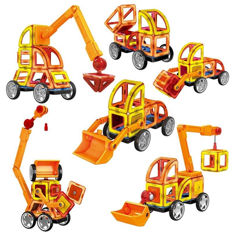 New Magnetic Designer Educational Building Blocks 60pcs/Set Engineering Vehicle Plastic Assemble Enlighten Bricks For Kids Gift<br>
