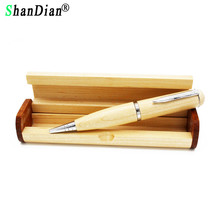 SHANDIAN wood Ballpoint pen with wooden box flash drive pendrive 4GB 8GB 16GB 32GB memory card U disk gifts(China)