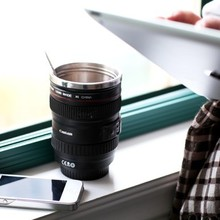 Freeshipping hermal stainless steel liner travel Coffee camera lens mug cup with transparent lid  caniam not canon