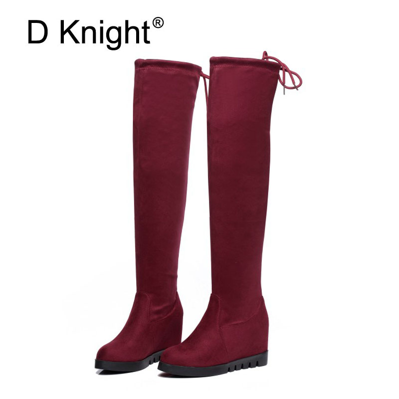 Ladies Casual Platform Height Increasing Wedge Boots Fashion Flock Round Toe Slip-on Over The Knee Boots Wedges Boots For Women<br>