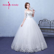 Buy Beauty Emily 2018 White Ball Gown Wedding Dresses Lace O-Neck Wedding Pary Bridal Gowns Elegant Bride Real Photos Plus Size for $87.19 in AliExpress store