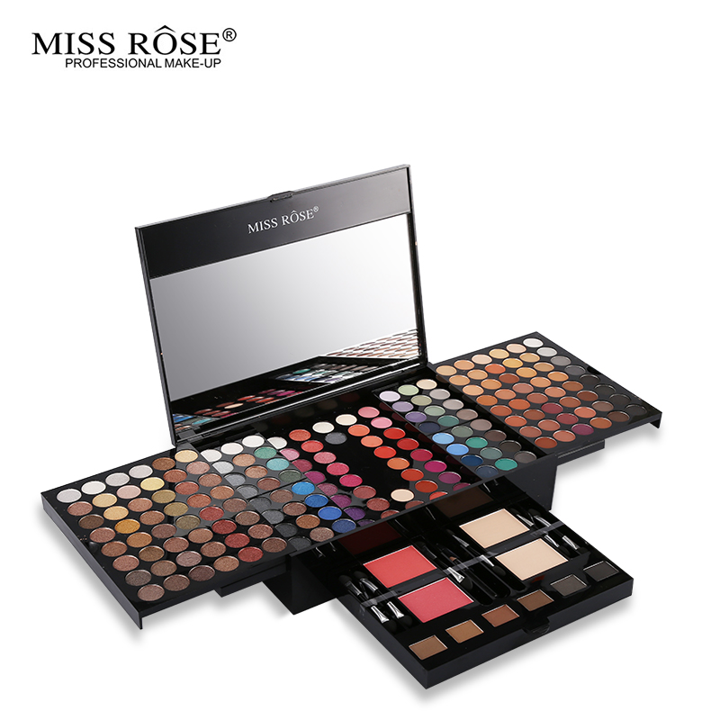 Miss Rose Professional 190 Colors Makeup Palette Matte&amp;Shimmer Eyeshadow+Prower+Blush+Eyebrow Makeup Case With Cosmetic Brushes<br>