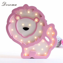 DOSOMA Home Decoration Accessories Creative Lion Night Light Wooden LED Energy Saving Bedroom Small Lamp Home Decor(China)