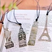 4pcs/lot Cute silver Metal Bookmark fashion EuropeStyle building Bookmark for Book Creative Gift Korean Stationery gifts(China)